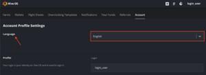 HiveOSアカウント設定画面