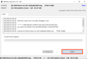 HDD Row Copy Toolの実行確認画面